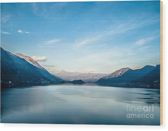 Dawn Over Mountains Lake Como Italy Wood Print