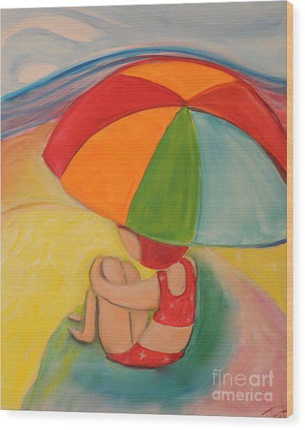 Day At The Beach Wood Print by Teresa Hutto