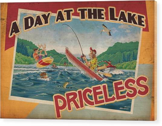 Day At The Lake Wood Print