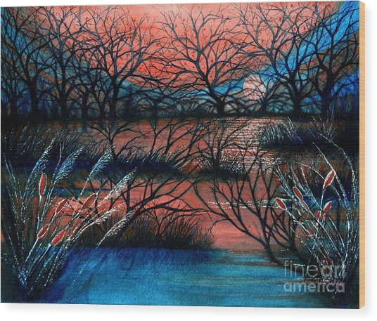 Day Is Done October Sky Wood Print