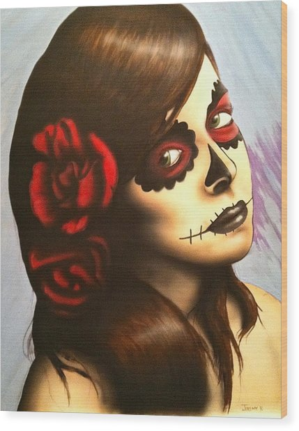 Day Of The Dead Wood Print by Jeremy Evans