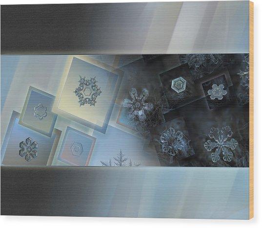 Snowflake Collage - Daybreak Wood Print