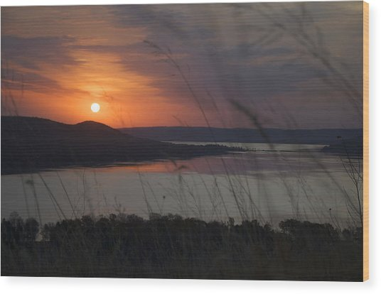 Daybreak On Glen Lake Wood Print