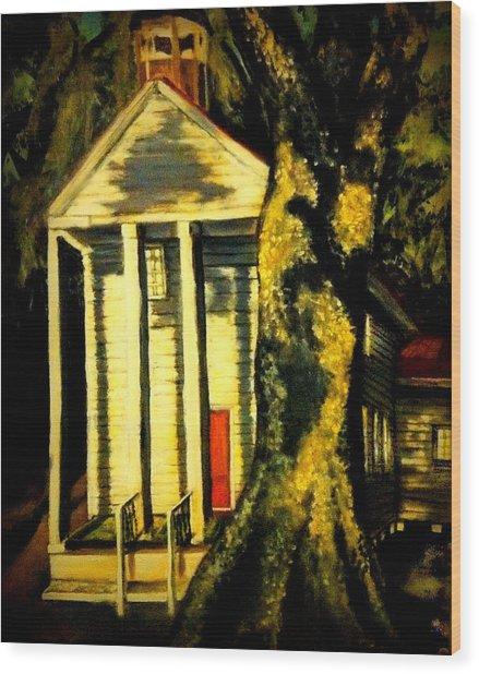 Daybreak On Oak Church Wood Print