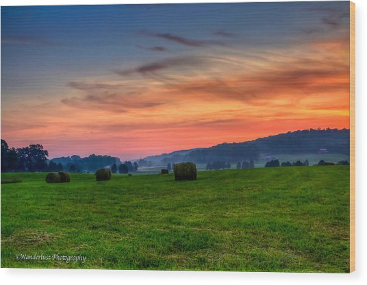 Daybreak On The Farm Wood Print by Paul Herrmann