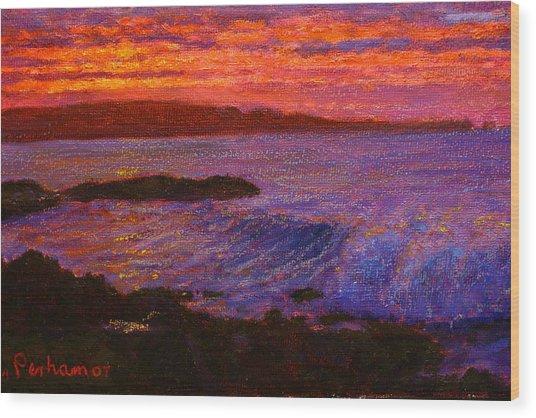 Daybreak Porpoise Bay Wood Print by Terry Perham