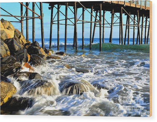 Daydreaming At The Pier Wood Print