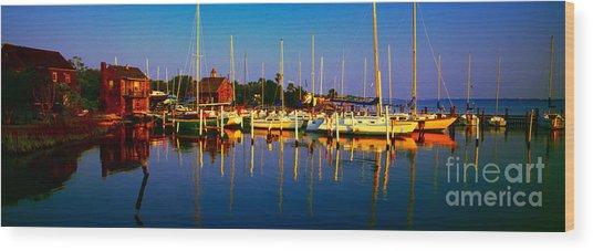Daytona Beach Florida Inland Waterway Private Boat Yard With Bird   Wood Print