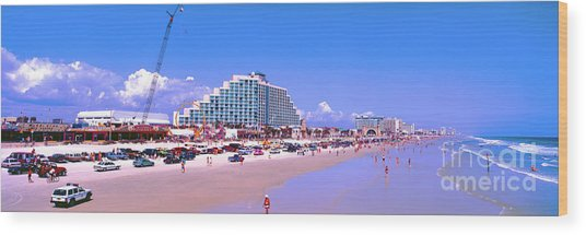 Daytona Main Street Pier And Beach  Wood Print