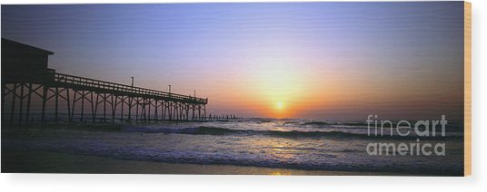 Daytona Sun Glow Pier  Wood Print
