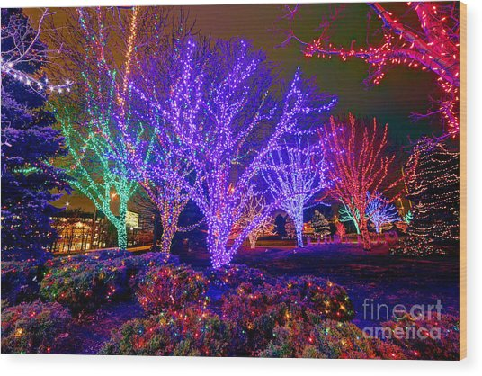 Dazzling Christmas Lights Wood Print