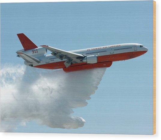 Dc10 Aerial Tanker Dropping Water Wood Print