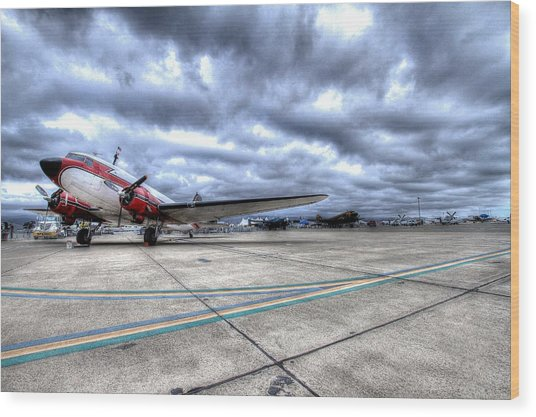 Dc3 And C47 Among The Mustangs At Salinas Air Show Wood Print by John King