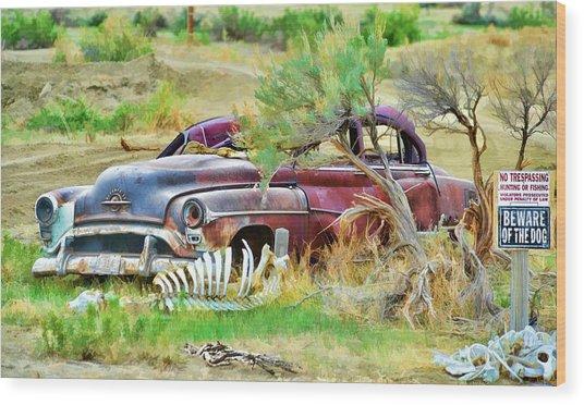 Dead Car Wood Print
