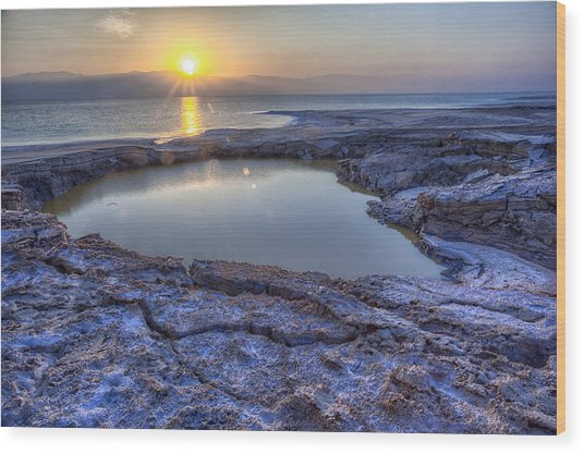 Dead Sea Sunrise Wood Print