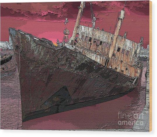 Dead Ship 3 Wood Print by Gustavo Mazzoni