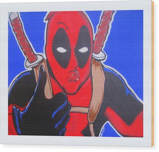 Deadpool Duckface Selfie Wood Print by Gary Niles