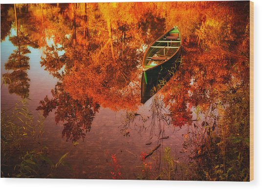 Deagol's Dinghy Wood Print by Roger Chenery