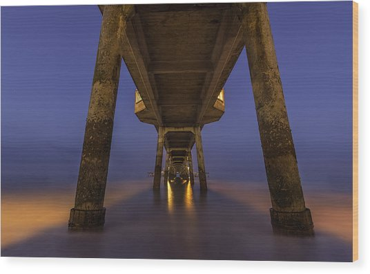 Deal Pier At Night Wood Print