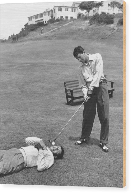 Dean Martin & Jerry Lewis Golf Wood Print