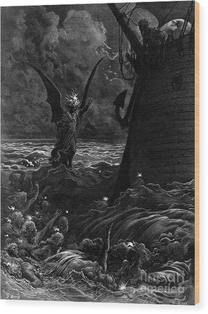 Death-fires Dancing Around The Becalmed Ship Wood Print