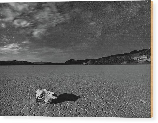 Death Valley By Moonlight Wood Print