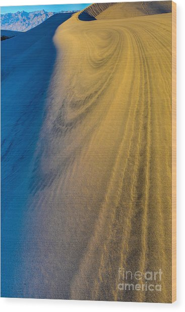 Death Valley Sunset Dune Wind Spiral Wood Print
