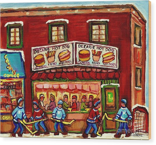 Decarie Hot Dog Restaurant Cosmix Comic Store Montreal Paintings Hockey Art Winter Scenes C Spandau Wood Print