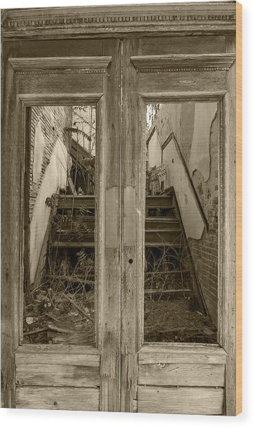 Decaying History In Black And White Wood Print