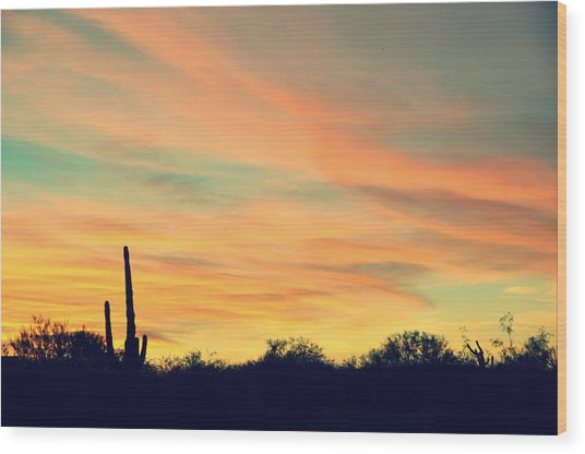 December Sunset Arizona Desert Wood Print by Jon Van Gilder