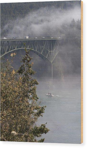 Deception Pass Bridge Fog Wood Print