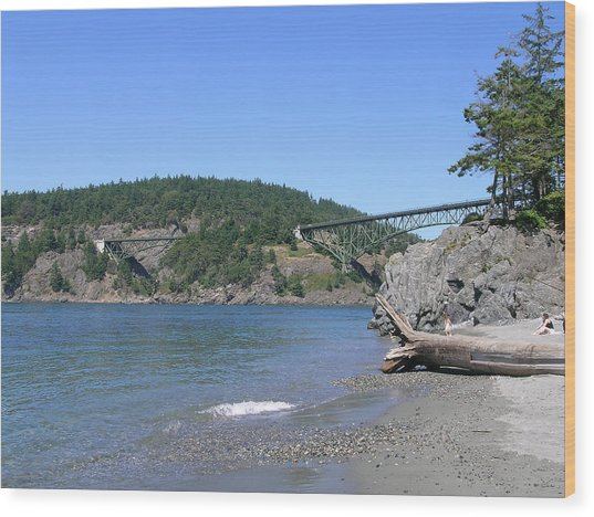 Deception Pass Bridge II Wood Print by Mary Gaines