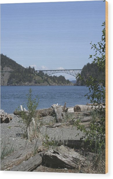 Deception Pass Bridge IIi Wood Print by Mary Gaines