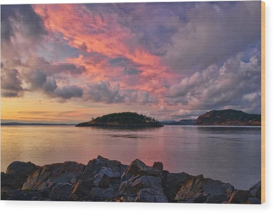 Deception Pass Sunset Wood Print