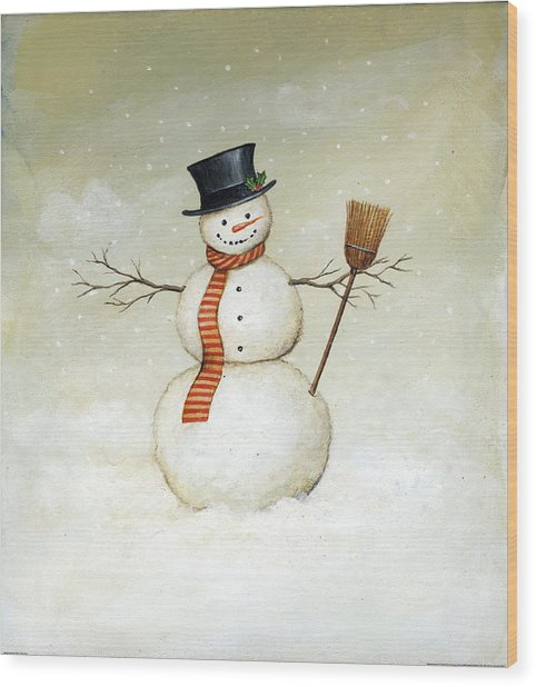 Deck The Halls - Snowman Wood Print