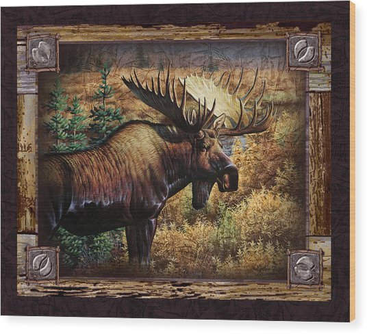 Deco Moose Wood Print