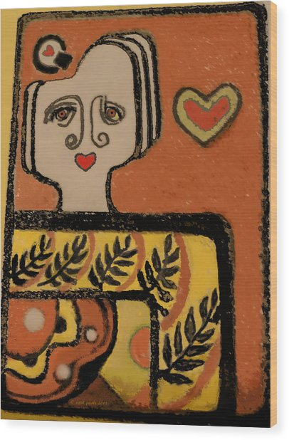 Deco Queen Of Hearts Wood Print