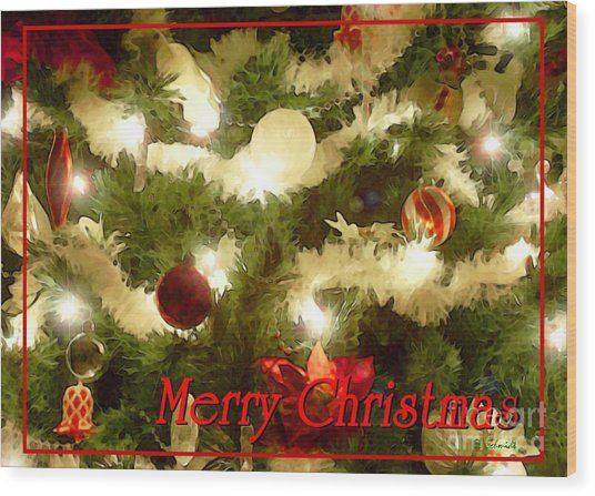 Decorated Tree Christmas Card Wood Print