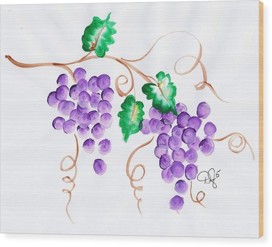 Decorative Grapes Wood Print