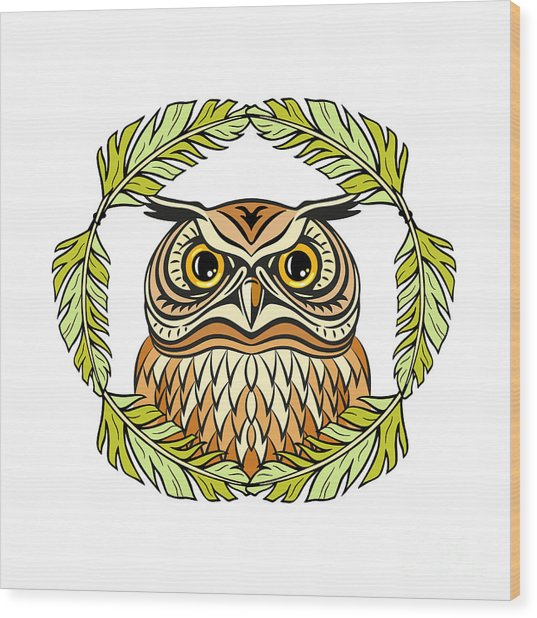Decorative Illustration With An Owl Wood Print