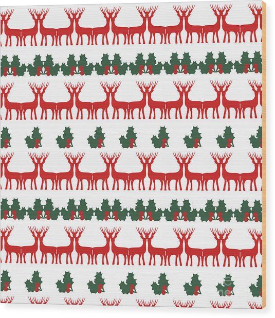 Decorative Reindeer Vector Pattern Wood Print