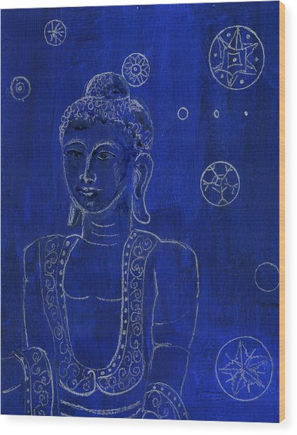 Deep Blue Buddha Wood Print