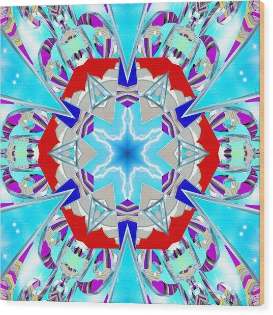 Wood Print featuring the digital art Deep Blue Geometry by Derek Gedney