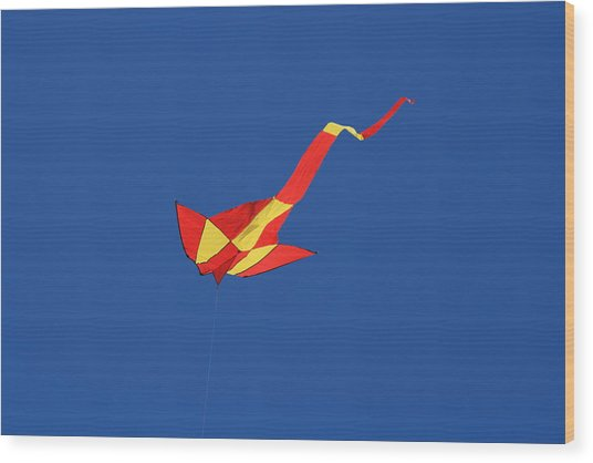 Deep Blue Sky And Kite Wood Print by Phoenix De Vries