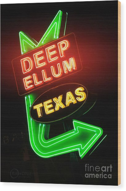 Deep Ellum Red Glow Wood Print