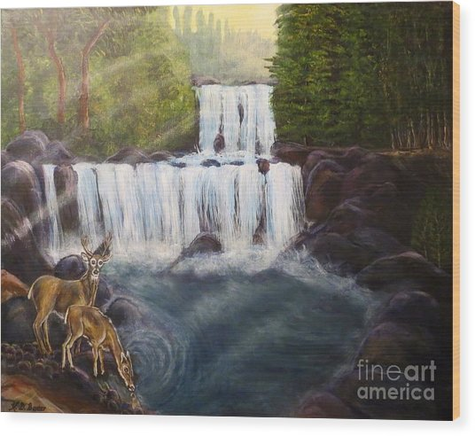 A Tall Drink Of Water For A Pair Of White Tailed Deer In The Great Smoky Mountains Wood Print