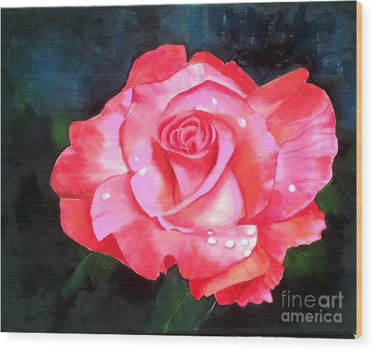 Deep Pink Rose Wood Print