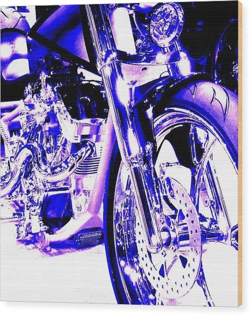 Deep Purple Art On Two Wheels Wood Print