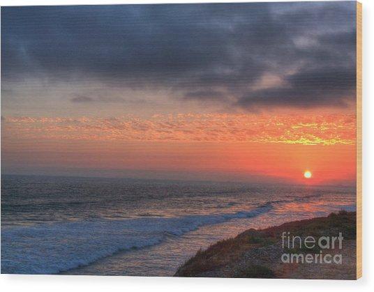 Deep Red Sunset Wood Print by Deborah Smolinske