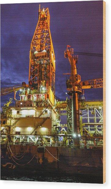 Deepwater Millenium 20 Miles Off Coast Of Ghana Wood Print
